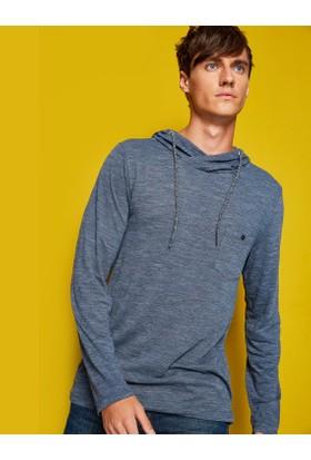 Koton Erkek Kapüşonlu T-Shirt Lacivert