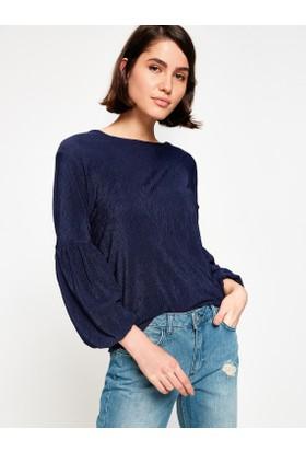 Koton Kadın Kol Detay T-Shirt Lacivert