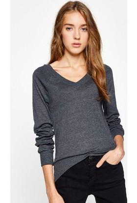 Koton Kadın V Yaka T-Shirt Antrasit