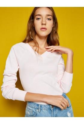 Koton Kadın V Yaka T-Shirt Pembe