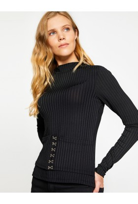 Koton Kadın Yüksek Yaka T-Shirt Siyah