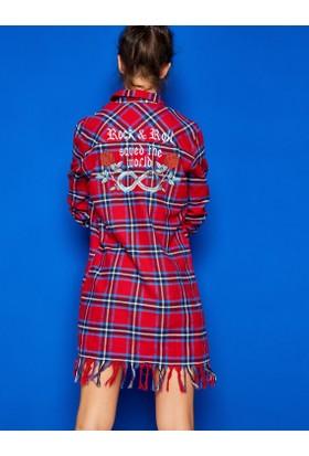 Koton Kadın Yazılı Baskılı Tunik Kırmızı