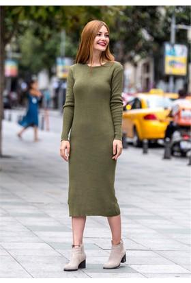 Femme Düz Triko Elbise