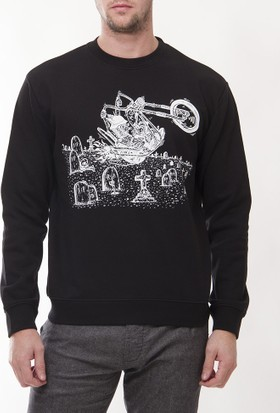 Alexander Mcqueen Amm25 Erkek Siyah Sweatshirt
