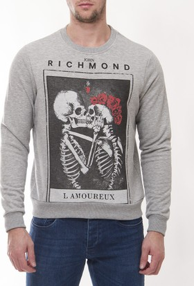 John Richmond Jrm01 Erkek Gri Sweatshirt