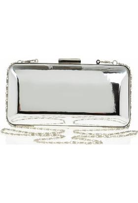 Esmoda Sç-002 Kadın Gümüş Ayna Abiye Clutch Çanta