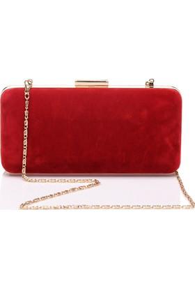 Esmoda Sç-002 Kadın Kırmızı Süet Abiye Clutch Çanta