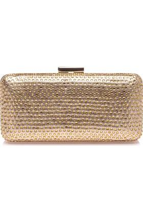 Esmoda Sç-005 Kadın Altın Taşlı Abiye Taşlı Clutch Çanta