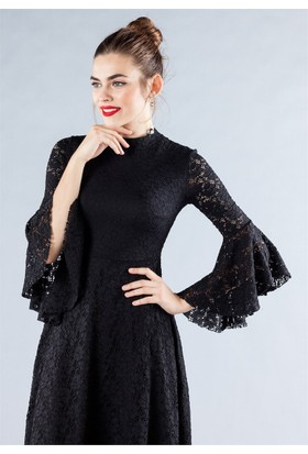 Femme İspanyol Dantel Elbise Siyah