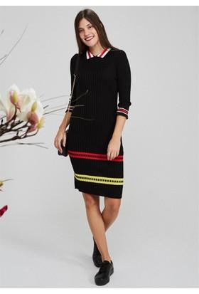 Femme Yakalı Triko Elbise Siyah