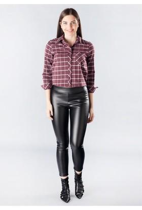 Femme Çizgili Kısa Gömlek Bordo
