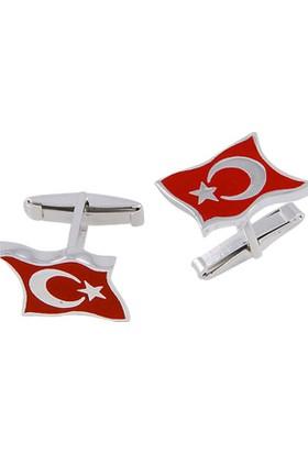 Tevuli 925 Ayar Gümüş Türk Bayrağı Kol Düğmesi Cf01921