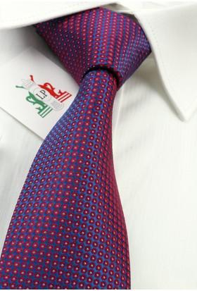 La Pescara Bordo Mavi Nokta Desen Slim Kravat 6081
