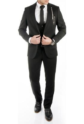 Deepsea Mürdüm İtalyan Kesim Zincir Aksesuarlı Yelekli Erkek Takım Elbise 1710383