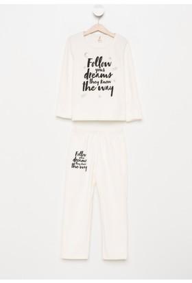 DeFacto Kız Çocuk Baskılı Pijama Takımı Ekru