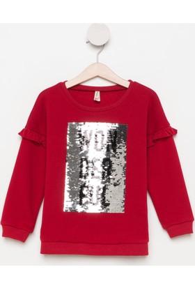 DeFacto Kız Çocuk Kolları Fırfırlı Pullu Sweatshirt Kırmızı