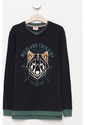 DeFacto Erkek Çocuk Yaka Detaylı Baskılı Sweatshirt Lacivert