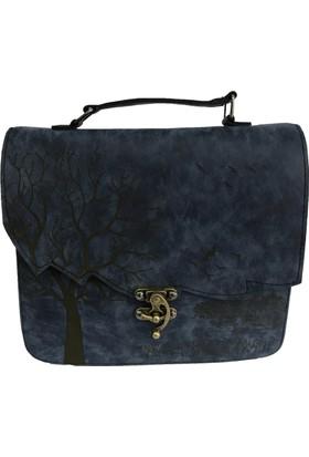 Çanta Stilim Lacivert Renk Nubuk Deri 2422-L El Ve Çapraz Bayan Çantası