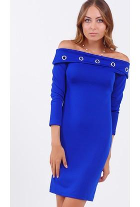 Vavin Kayık Yaka Kuşgözlü Saks Mavisi Elbise