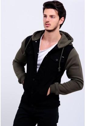 Vavin Polar Haki Kol Siyah Kot Ceket