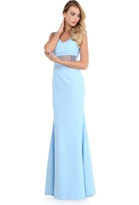 Pierre Cardin Bebe Mavi Askılı Transparan Abiye Elbise