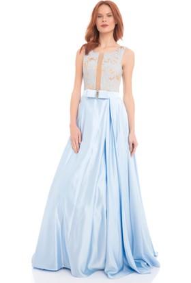 Pierre Cardin Bebe Mavi Desenli Kabarık Uzun Abiye Elbise
