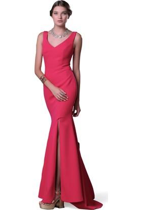 Pierre Cardin Kırmızı Yırtmaçlı Uzun Balık Abiye Elbise