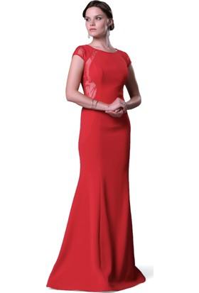 Pierre Cardin Kırmızı Dantel İşlemeli Uzun Abiye Elbise