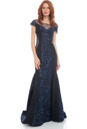 Pierre Cardin Lacivert Brode İşlemeli Uzun Abiye Elbise