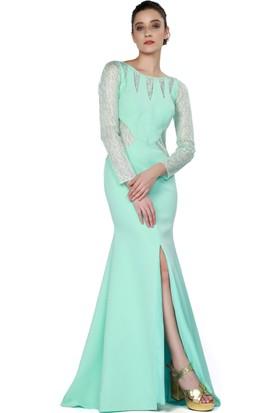 Pierre Cardin Mint Dantel İşlemeli Uzun Kollu Abiye Elbise