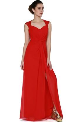 Pierre Cardin Kırmızı Yırtmaçlı Dantelli Uzun Abiye Elbise