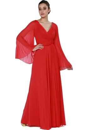 Pierre Cardin Kırmızı Uzun Kollu Abiye Elbise