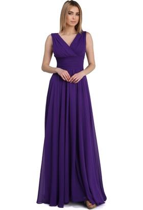 Pierre Cardin Mor Şifon V Yaka Uzun Abiye Elbise
