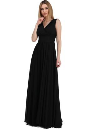 Pierre Cardin Siyah Şifon V Yaka Uzun Abiye Elbise