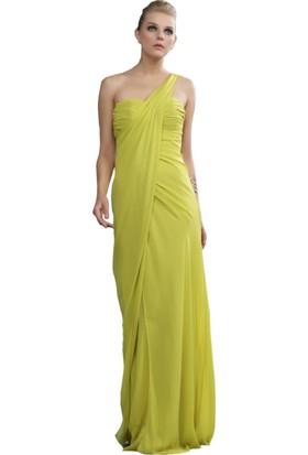 Pierre Cardin Fıstık Yeşil Tek Omuzlu Şifon Abiye Elbise