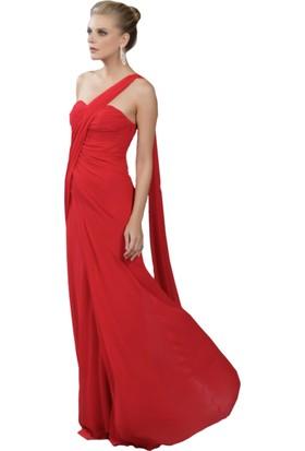 Pierre Cardin Kırmızı Tek Omuzlu Şifon Abiye Elbise