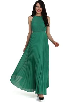 Pierre Cardin Yeşil Taşlı Piliseli Abiye Elbise