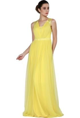 Pierre Cardin Sarı Dantelli Uzun Şifon Abiye Elbise