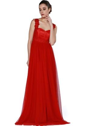 Pierre Cardin Kırmızı Uzun Şifon Abiye Elbise