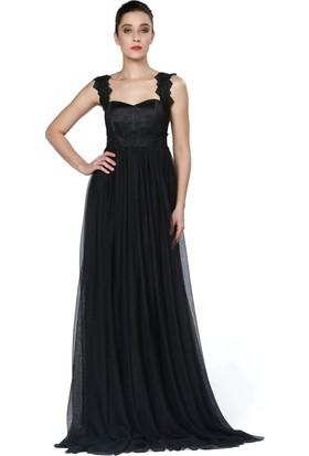 Pierre Cardin Siyah Uzun Şifon Abiye Elbise