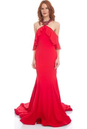 Pierre Cardin Kırmızı Şifon Volanlı Abiye Elbise
