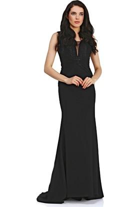 Pierre Cardin Siyah Göğüs Dekolteli Uzun Balık Abiye Elbise