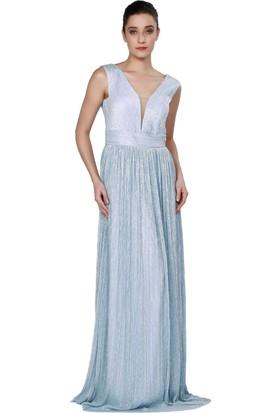 Pierre Cardin Bebe Mavi Simli Uzun Abiye Elbise