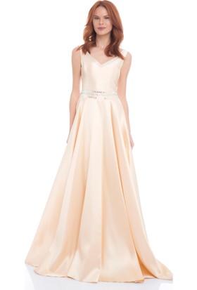 Pierre Cardin Somon Taş İşlemeli Saten Abiye Elbise