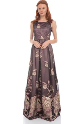 Pierre Cardin Mürdüm Uzun Desenli Abiye Elbise