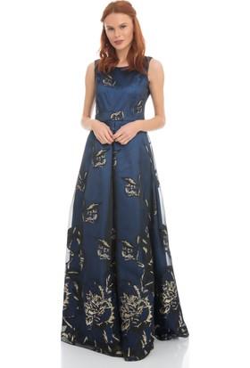 Pierre Cardin Saks Uzun Desenli Abiye Elbise