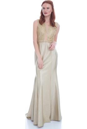 Pierre Cardin Gold Sırt Dekolteli Balık Abiye Elbise