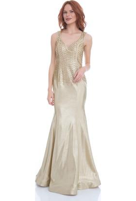Pierre Cardin Gold Yaldız Baskılı Balık Abiye Elbise