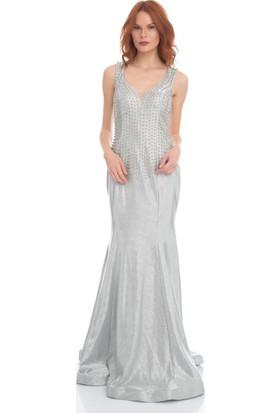 Pierre Cardin Gümüş Yaldız Baskılı Balık Abiye Elbise