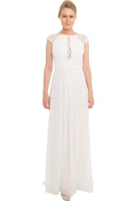 Pierre Cardin Ekru Şifon Dantel İşlemeli Uzun Abiye Elbise